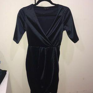 Satin navy cocktail dress